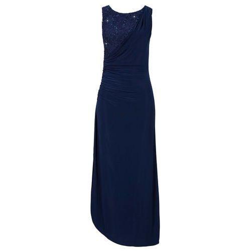 Długa sukienka bonprix ciemnoniebieski, kolor niebieski