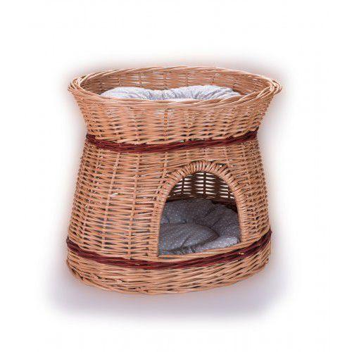 Budka wiklinowa koci domek owalny z poduszkami (5904906036895)