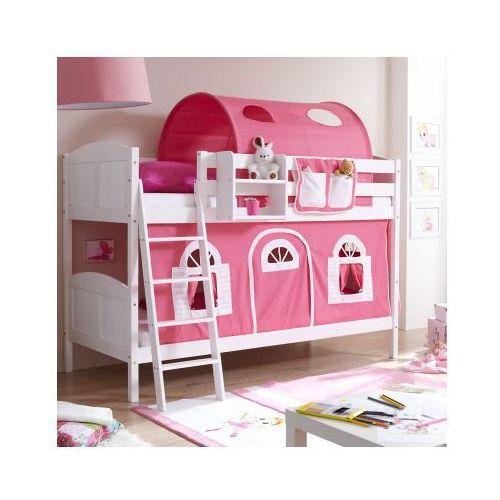 TICAA Łóżko piętrowe Erni Country Dworek białe drewno sosnowe kolor różowo-biały - oferta [35ec6a2635d5b3d0]