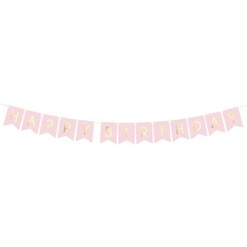 Party deco Baner różowy z napisem happy birthday - 175 cm - 1 szt.
