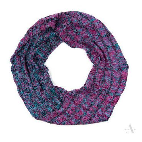 Melanżowy komin szalik damski różowo-turkusowy - turkusowy   różowy   czarny   kolorowy, kolor niebieski