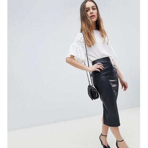 Asos petite Asos design petite sculpt me leather look midi skirt - black