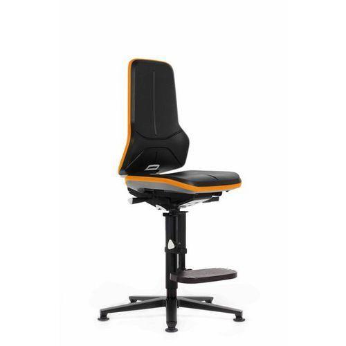 Bimos Obrotowe krzesło do pracy ze szkieletem z aluminium,na ślizgaczach z podnóżkiem
