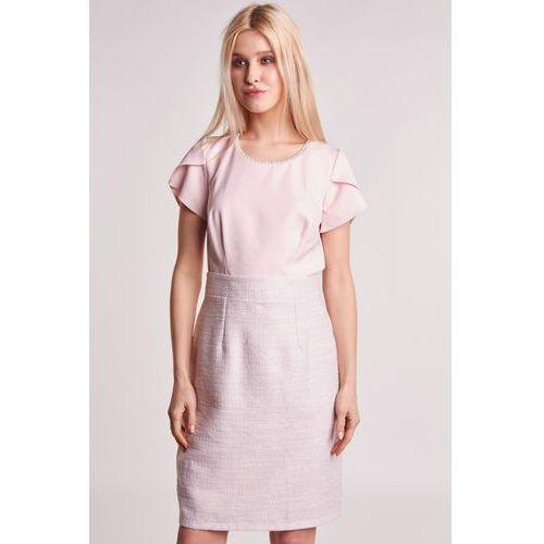 a8124eaa1 Elegancka sukienka z łączonych materiałów, 1 rozmiar 259,00 zł Sukienka z  łączonych tworzyw w kolorze pudrowego różu. Góra wykonana z gładkiego  materiału.