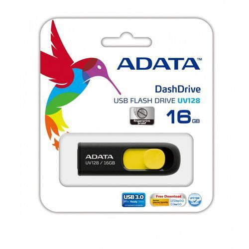 Adata pamięć USB DashDrive UV128 16GB USB 3.0 Black+Yellow (4713435796665)