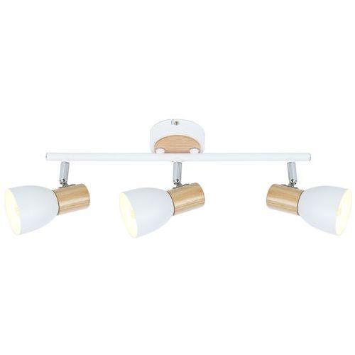 Listwa lampa sufitowa plafon spot Candellux Anabel 2 3x25W E14 biały / drewno 93-61683