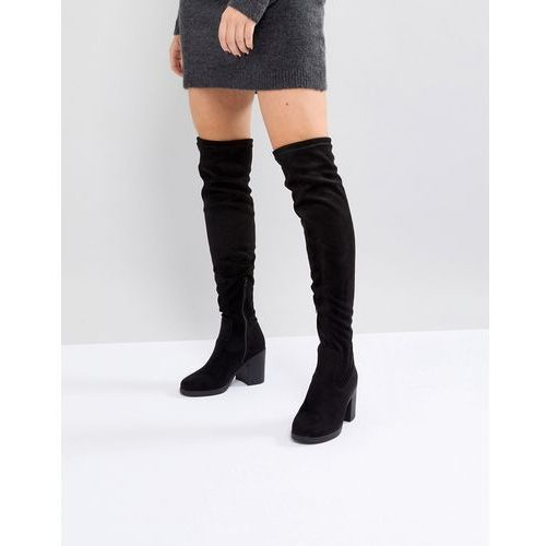 Truffle collection chunky heel stretch over knee boot - black