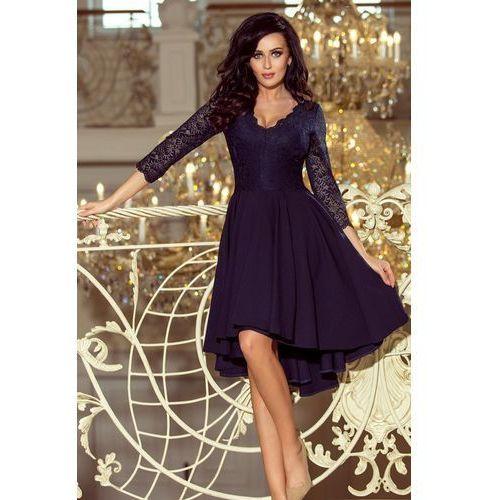 3f70982fde 210-2 nicolle - sukienka z dłuższym tyłem z koronkowym dekoltem - granatowa  marki Numoco 165