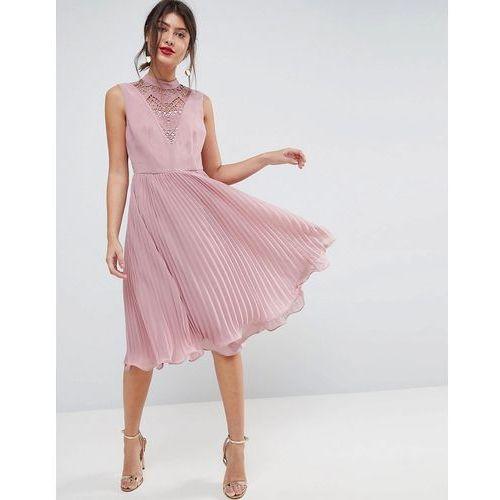 ASOS Sleeveless Lace Insert Pleated Midi Dress - Beige, kolor beżowy