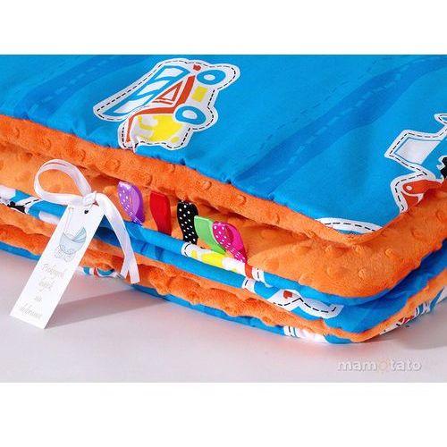 MAMO-TATO Kocyk Minky dwustronny Auta niebieskie / pomarańcz