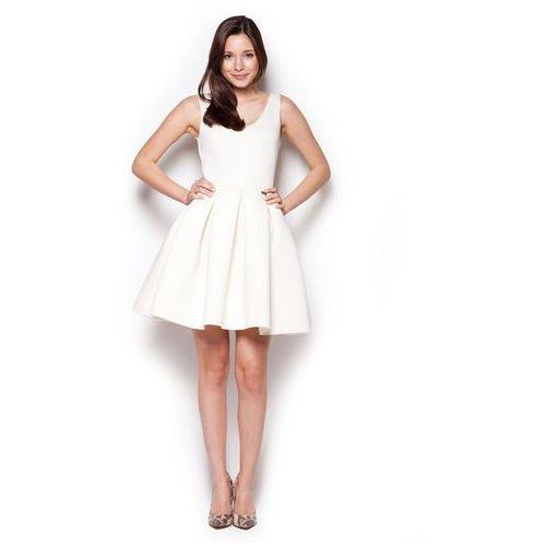 Ecru Rozkloszowana Sukienka Mini z Dekoltem V na Plecach, FM344ecr