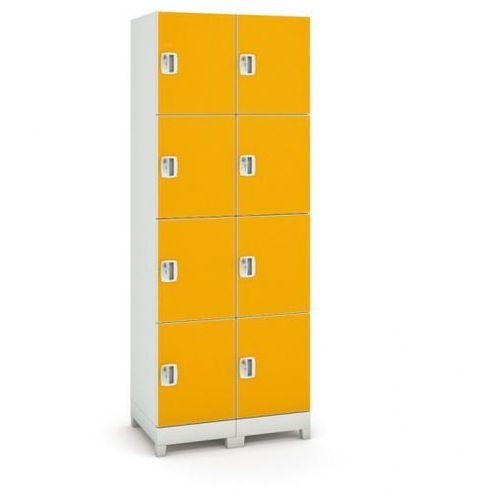 B2b partner Szafa z tworzywa sztucznego, 8 drzwi, pomarańczowy
