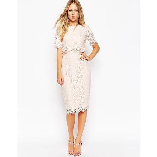 lace crop top midi pencil dress - navy, Asos