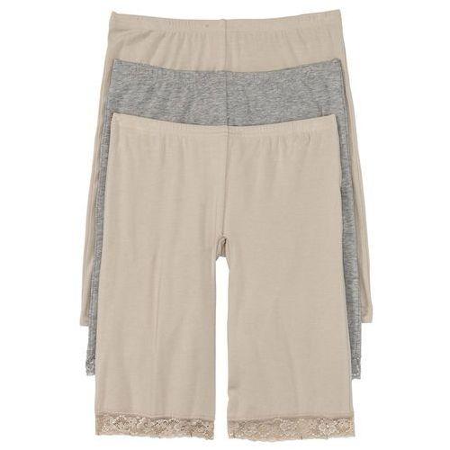 Majtki z nogawkami (3 pary) bonprix cielisty + jasnoszary melanż, bawełna