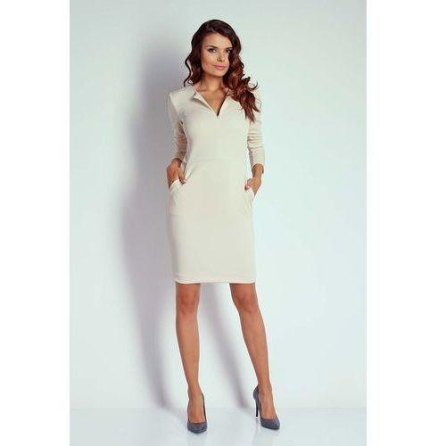 0405bdccff Beżowa Dopasowana Sukienka z Suwakiem przy Dekolcie 116