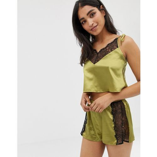 Wolf & Whistle lace trim crop and short pyjama set in chartreuse - Purple