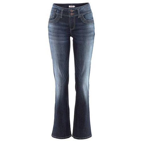 Dżinsy ze stretchem BOOTCUT bonprix ciemnoniebieski, niebieski w 8 rozmiarach