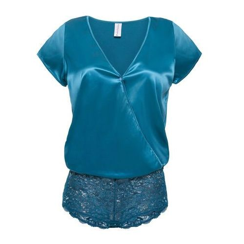 Body premium z satynowym połyskiem niebieskozielony marki Bonprix