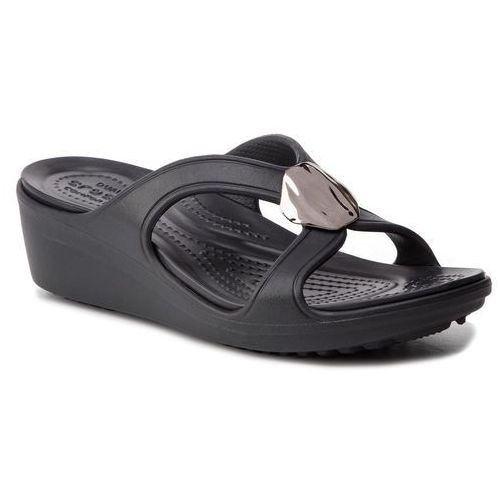 Klapki CROCS - Sanrah Liquid Matallic Wedge W 205599 Gunmetal/Black, kolor czarny
