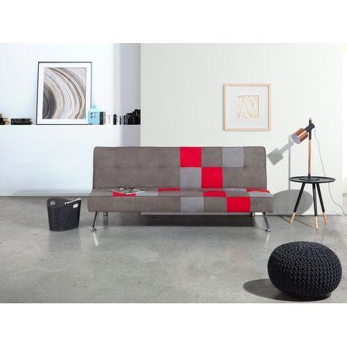 Beliani Sofa szara - rozkładana - patchwork - wersalka - tapicerowana - olsker