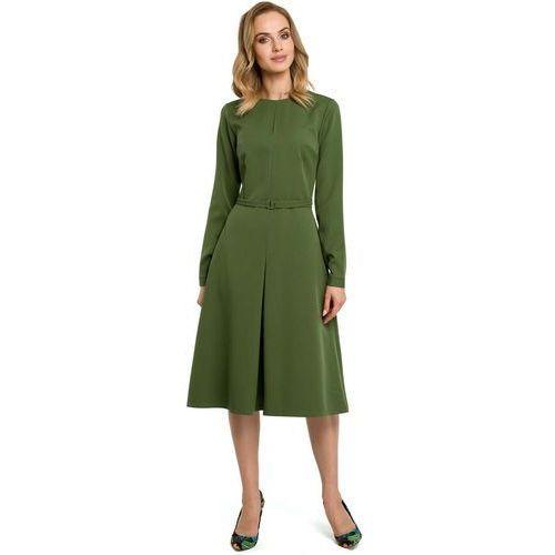 e1ab1eb191 Moe Zielona elegancka sukienka do pracy za kolano z paskiem 139