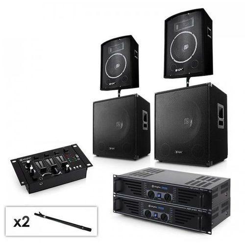 """2.2 system pa 2 x wzmacniacz, 2 x 15"""" subwoofer, 2 x 10""""głośnik, mikser & kable marki Electronic-star"""