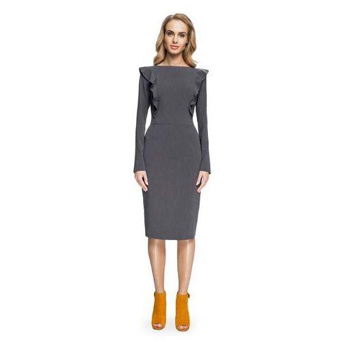 b2184cc114 Ołówkowa Sukienka z Falbankami przy Rękawach- Szara