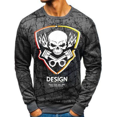 Bluza męska bez kaptura z nadrukiem grafitowa Denley DD652