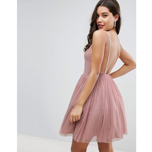 embellished strap mini tulle dress - pink, Asos
