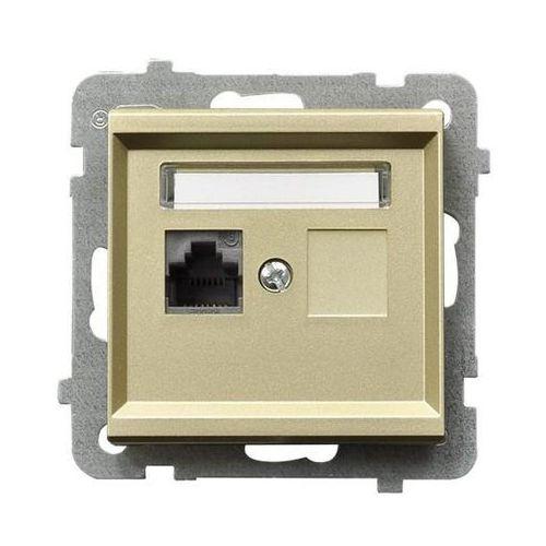 Ospel Gniazdo komputerowe pojedyncze 5e kategoria p/t (krone), szampański złoty gpk-1r/k/m/39 sonata (5907577448233)
