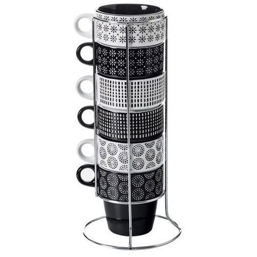 Zestaw 6 filiżanek porcelanowych na stojaku, kubki do kawy, komplet filiżanek, porcelanowe kubki, czarne kubki, kubki na stojaku