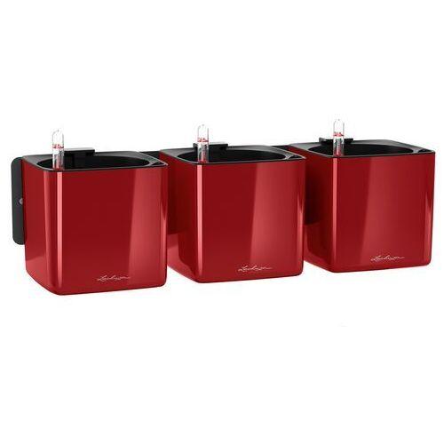 Donica ścienna Lechuza Cube Glossy Home Kit czerwony połysk