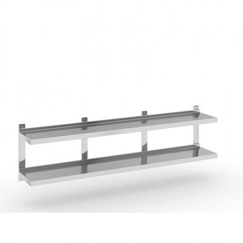 Podwójna półka ze stali nierdzewnej wieszana, 1800x300 mm marki B2b partner