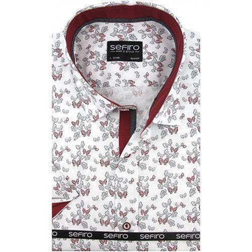 Koszula męska biała w bordowe motylki slim fit na krótki rękaw k762 marki Sefiro