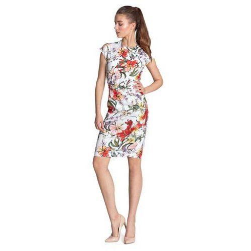 Sukienka ołówkowa - kwiaty/ecru - S120, ołówkowa
