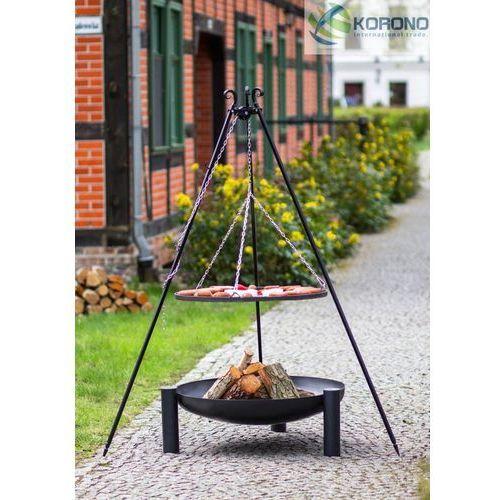 Grill na trójnogu z rusztem ze stali czarnej + palenisko ogrodowe 70 cm / 80 cm od producenta Korono