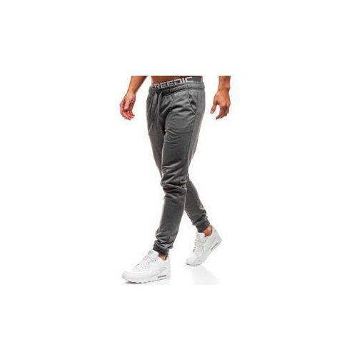 Spodnie męskie dresowe joggery grafitowe Denley KK303