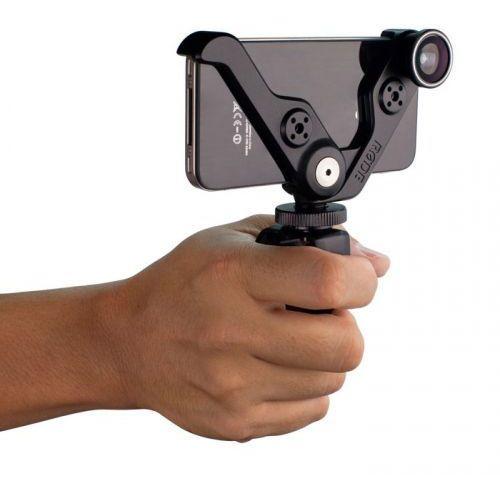 grip+ uchwyt wielofunkcyjny [montaż na kamerze, stojak desktop, uchwyt do ręki] dla iphone 4/ 4s, +3 wysokiej jakości obiektywy marki Rode