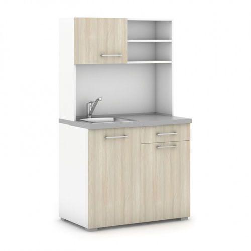 Kuchnia, zlew, bateria, 1/2 drzwi, biały/dąb naturalny marki B2b partner