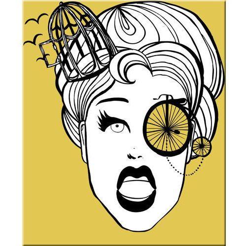 obraz nowoczesny o zdecydowanym limonkowym kolorze z tajemniczym wizerunkiem kobiety (obraz)