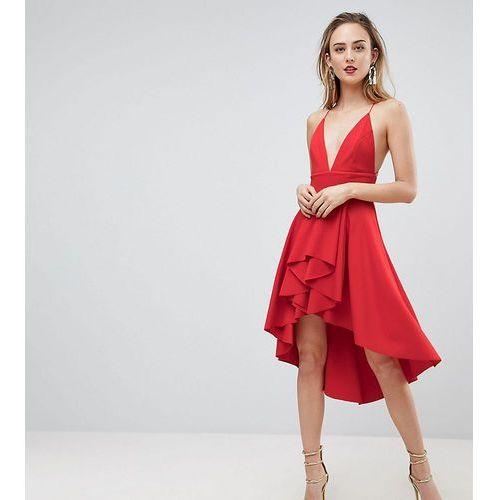 ASOS TALL Cami Deep Plunge Skater Mini Dress - Red