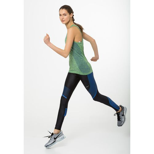 Nike Performance POWER SPEED Legginsy black/hyper cobalt/reflective silver, rozmiar od 34 do 42, czarny