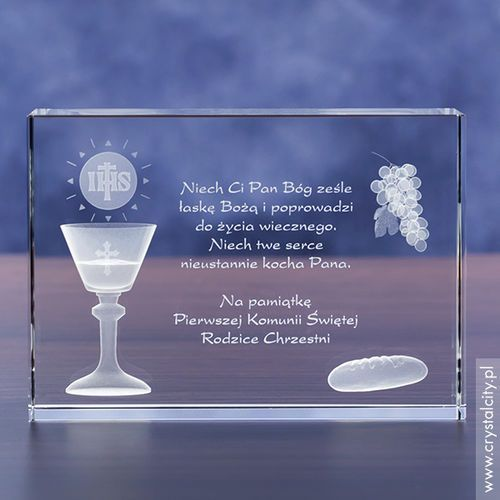 Pamiątka Komunii »chleb i wino« średnia • statuetka 3D personalizowana