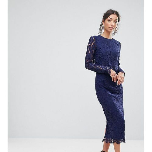 ASOS TALL WEDDING Lace Long Sleeve Midi Pencil Dress - Navy, kolor niebieski