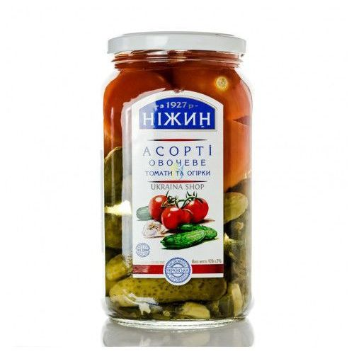 Pomidory i ogórki marynowane 920 g marki Nezhin