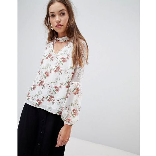 floral blouse with lace inserts - cream, Glamorous, 36-38