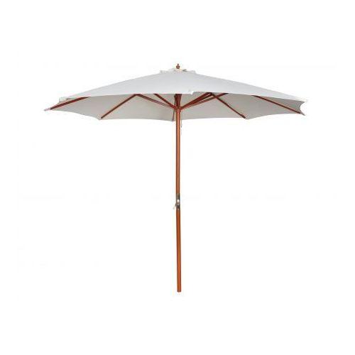 Parasol przeciwsłoneczny w kolorze białym o wysokości 258 cm. (parasol ogrodowy)