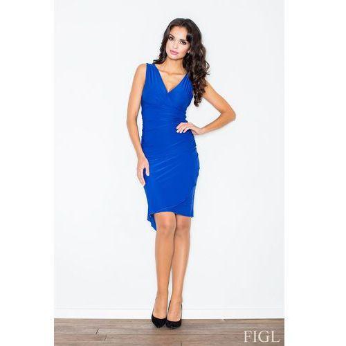 Niebieska Asymetryczna Sukienka Modnie Marszczona, w 4 rozmiarach