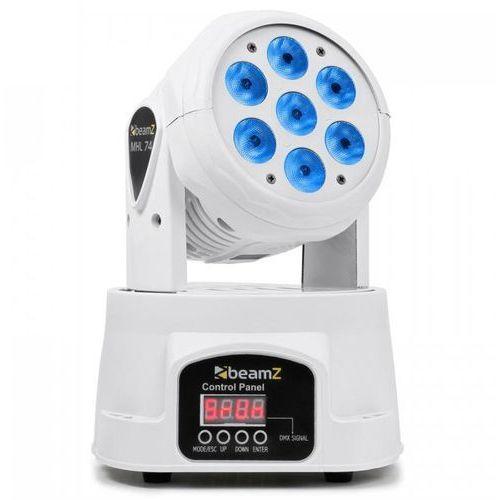 Beamz Mini wash mhl-74 ruchoma głowica 7 x 10 w dmx 12-kanałów rgbw kolor biały