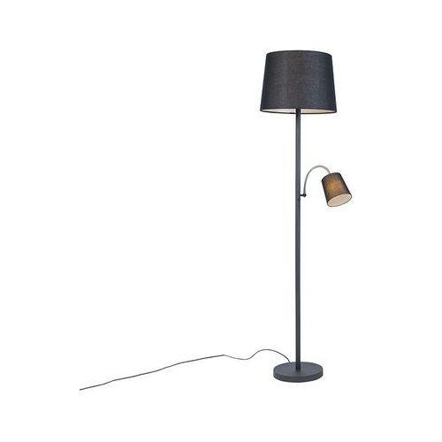 Klasyczna lampa podłogowa stal klosz czarny z elastycznym ramieniem - retro marki Qazqa